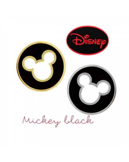 [Authentic Disney] *92.5% Silver POST* Mickey black round earrings