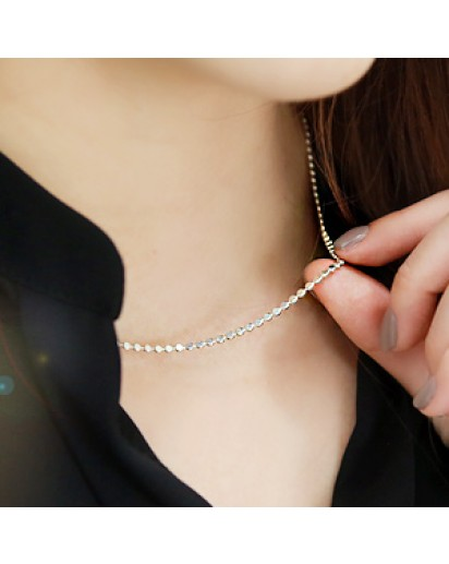 *92.5% Silver* Round flat chain necklace