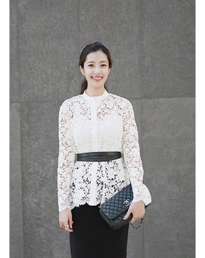 Stand-up collared Lace Blouse