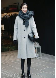 Collarless Side-slit Coat