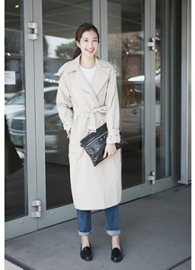 Linen Double-Breasted Trench Coat