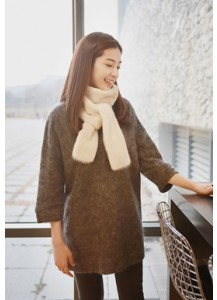 3/4 Sleeve Mohair Knit Dress