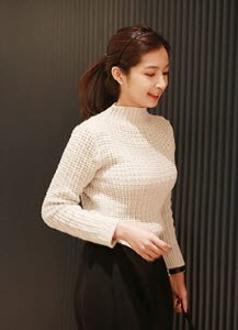 High-neck Waffle Knit Top