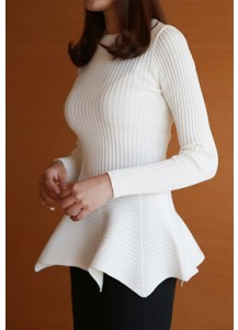 Lucy Ribbed Peplum Sweater