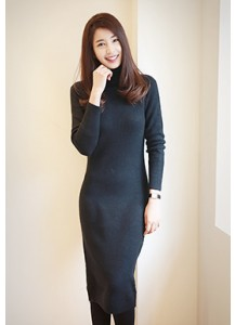 Turtleneck Longline Knit Dress