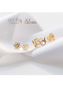 [A set of three kind] *92.5% Silver* Flower honeycomb set