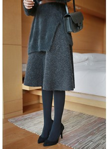 A-line Wool Knit Skirt