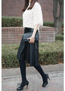 Unbalanced Faux Leather Skirt