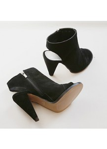 Peep-toe Suede Booties