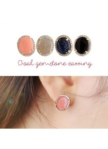 Oval gemstone earrings [post backs/clips]