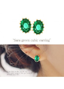 Sara green cubic earrings [post backs/clips]