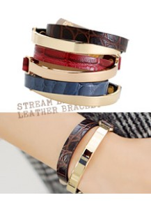Stream layered leather bracelet