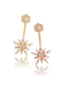 *92.5% Silver POST* Double snowflake two-way earrings