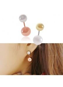 Two-toned ball two-way earrings