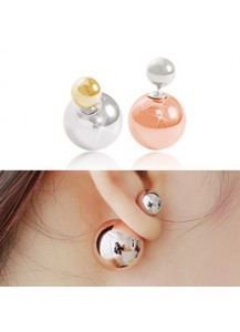 *92.5% Silver POST* Two-toned ball earrings
