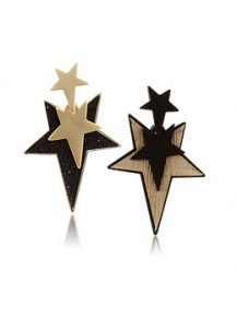 Triple black star earrings