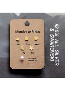 [6piece 1set]  *92.5% Silver*  Monday to Friday earrings