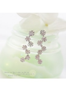*92.5% Silver POST* Flower long earrings