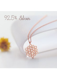 *92.5% Silver* Flower honeycomb necklace