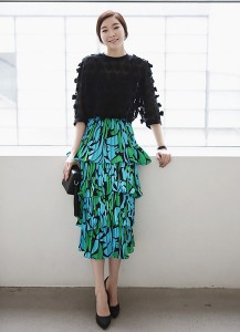 Abstract Print Tiered Skirt