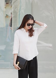 3/4-Sleeved Cutout Shirt