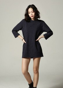 Striped 3/4-sleeve Dress