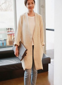 Collarless Linen Jacket
