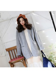 Lams fur Coat with Zipper Pocket