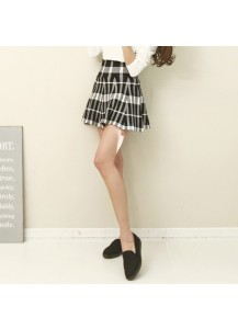Checkered Flare Knit Skirt