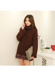 Ribbed Knit Turtleneck Sweater