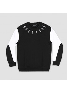 [thepartment] FEATHER NECKLINE CREWNECK SWEAT SHIRTS BLACK